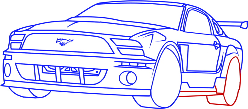 Learn easy to draw Ford GT step 14
