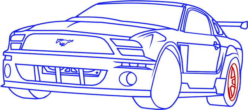 Learn easy to draw Ford GT step 15