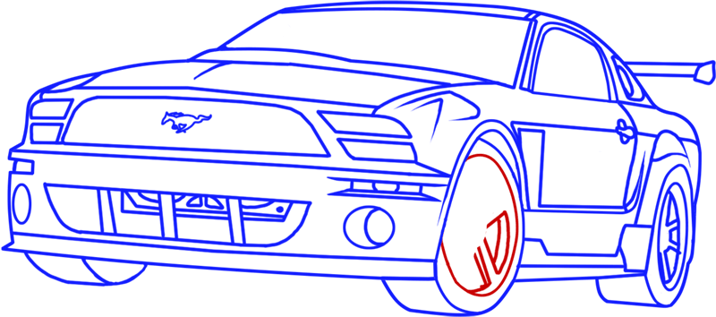 Learn easy to draw Ford GT step 16