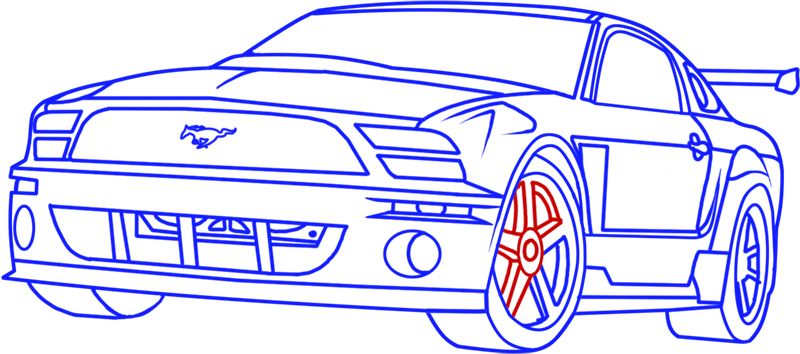 Learn easy to draw Ford GT step 17
