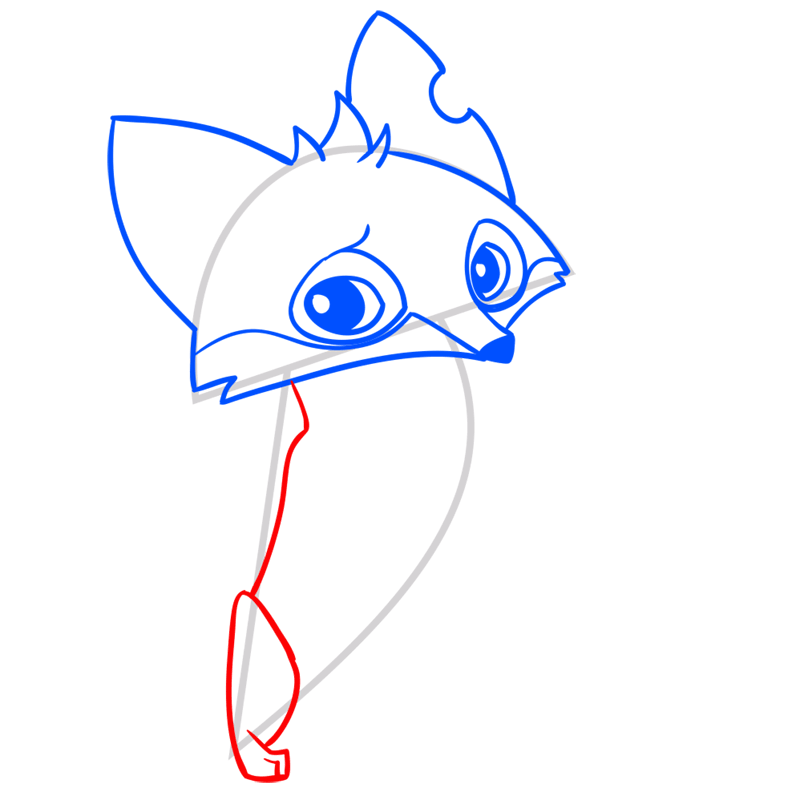 Learn easy to draw Fox step 08