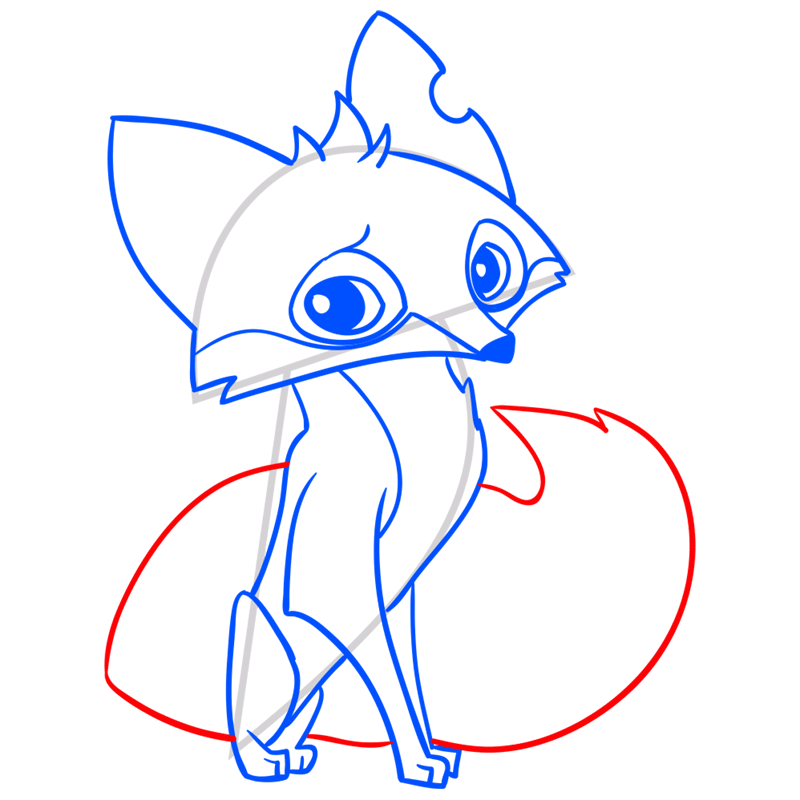 Learn easy to draw Fox step 12