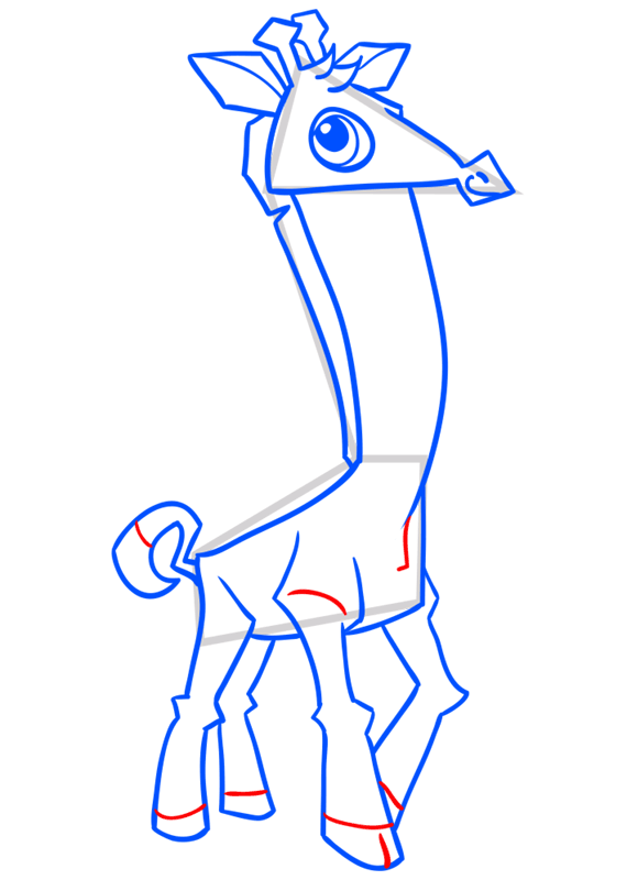 Learn easy to draw Giraffe step 12