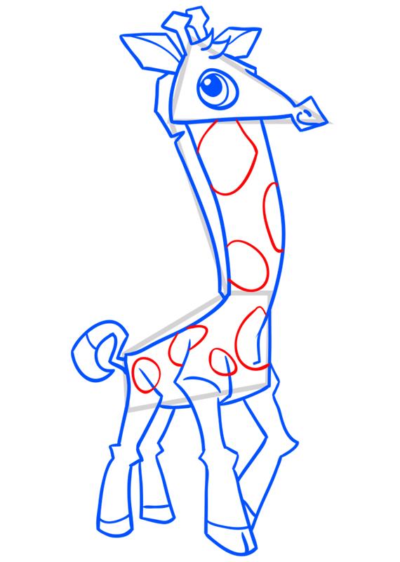 Learn easy to draw Giraffe step 13