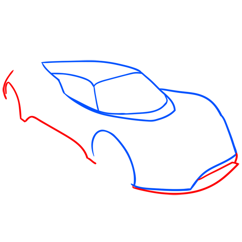 Learn easy to draw Hennessy Venom F5 step 03