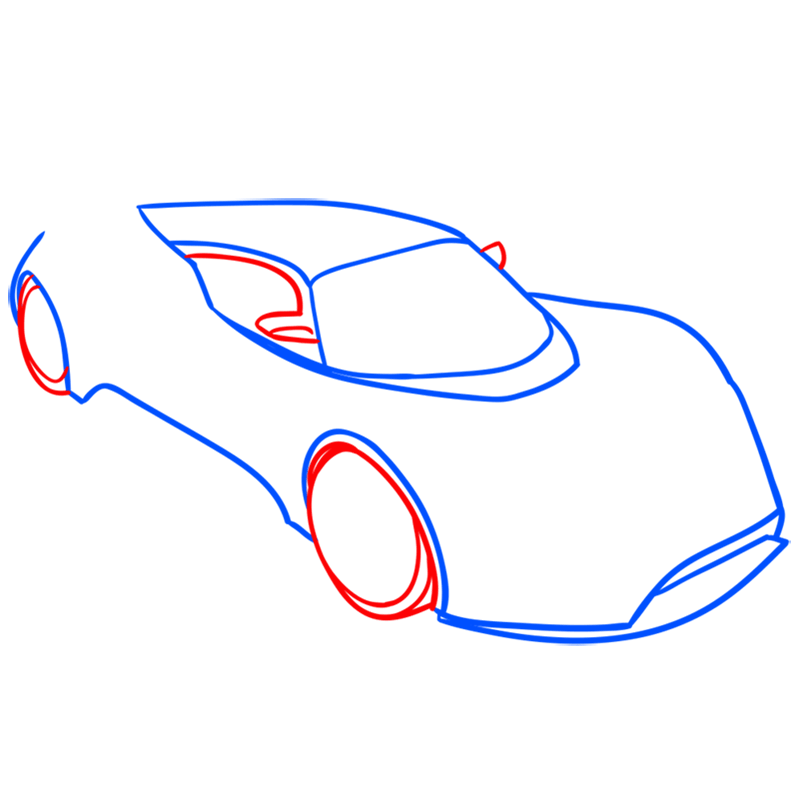 Learn easy to draw Hennessy Venom F5 step 04