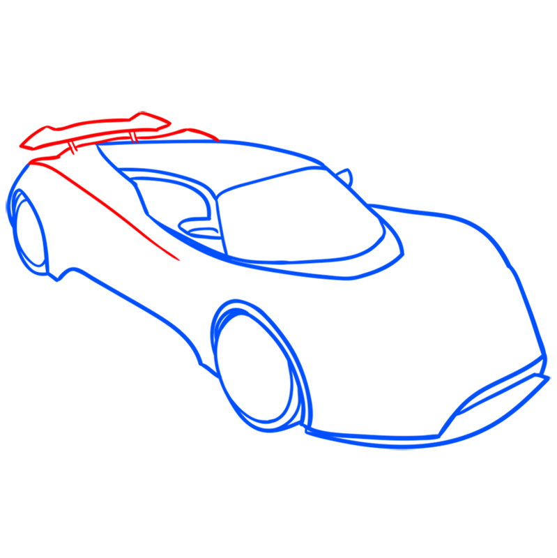 Learn easy to draw Hennessy Venom F5 step 05