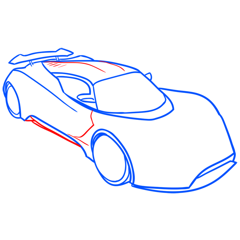 Learn easy to draw Hennessy Venom F5 step 06