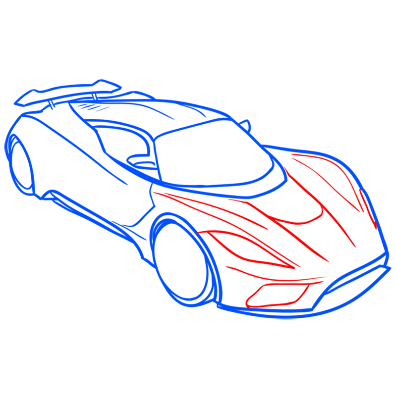 Learn easy to draw Hennessy Venom F5 step 07