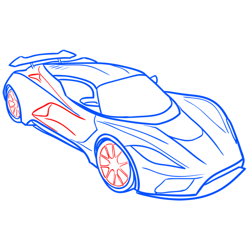 Learn easy to draw Hennessy Venom F5 step 08