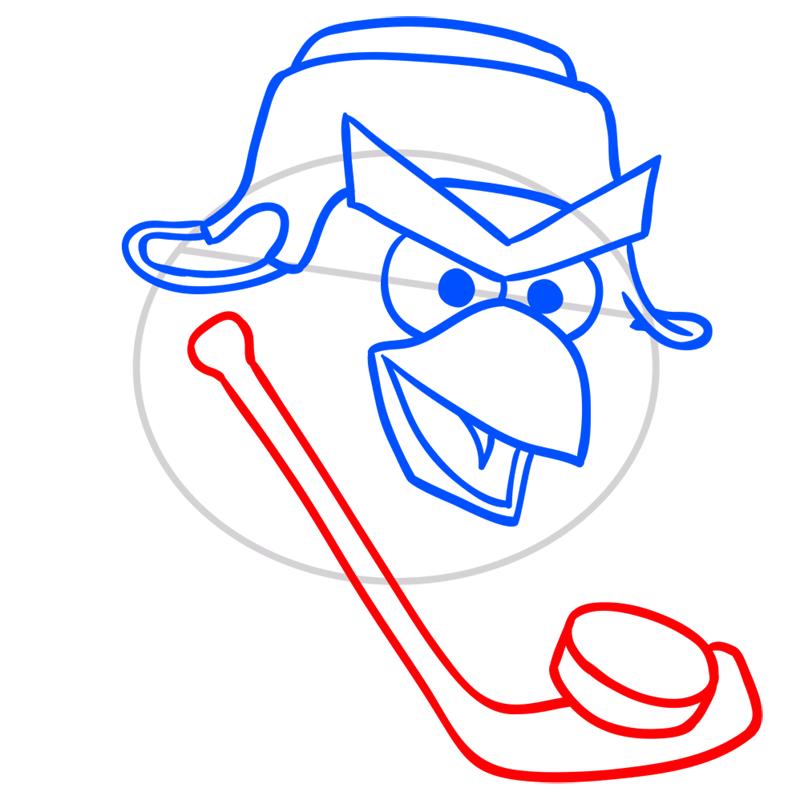 Learn easy to draw Hockey Bird step 05