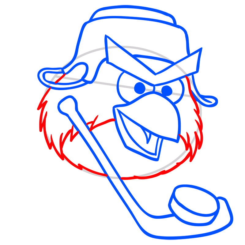 Learn easy to draw Hockey Bird step 06