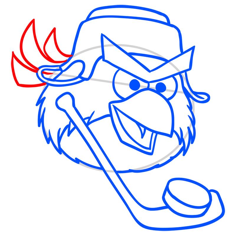 Learn easy to draw Hockey Bird step 07
