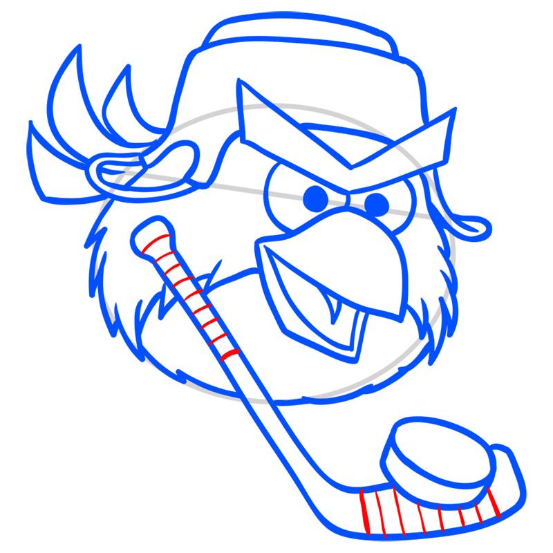 Learn easy to draw Hockey Bird step 08