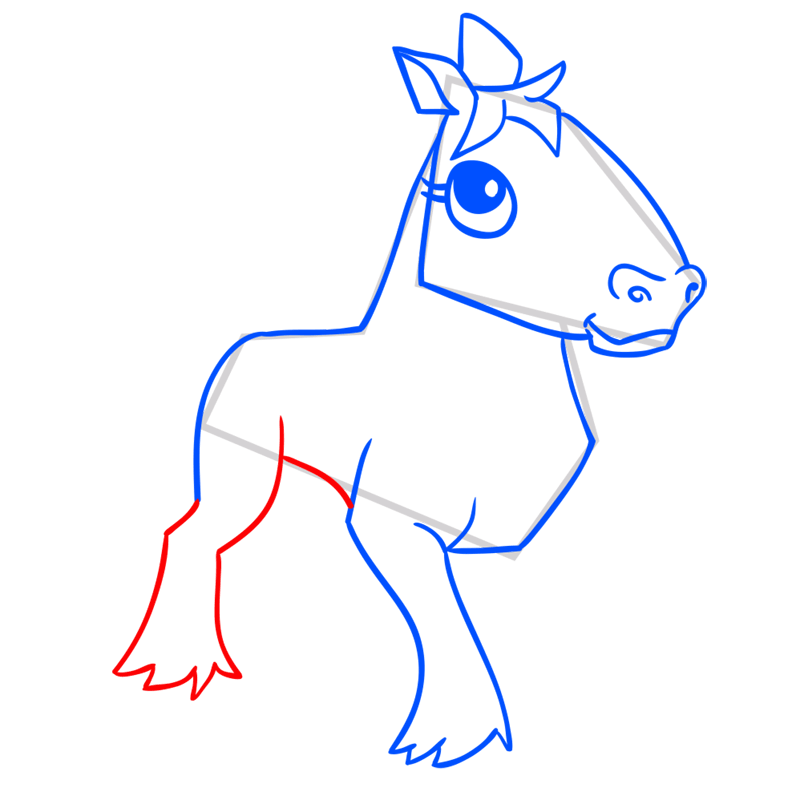 Learn easy to draw Horse step 09