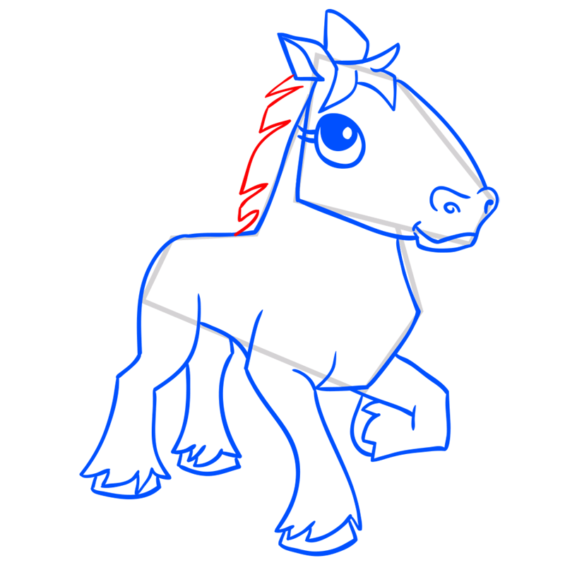 Learn easy to draw Horse step 13