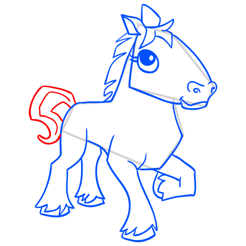 Learn easy to draw Horse step 14