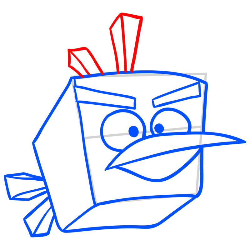 Learn easy to draw Ice Bird step 07