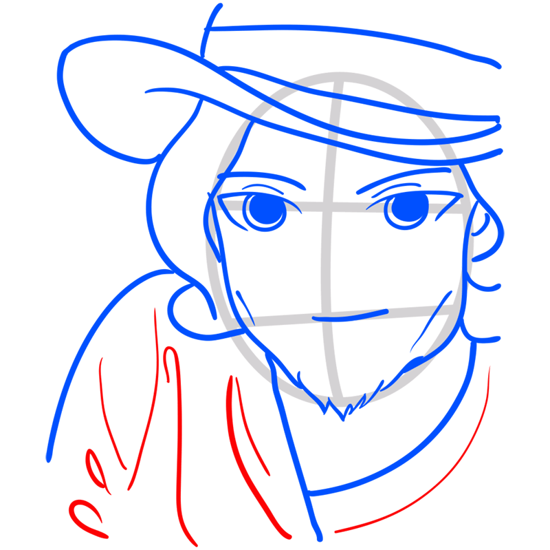 Learn easy to draw Johnny Depp step 07
