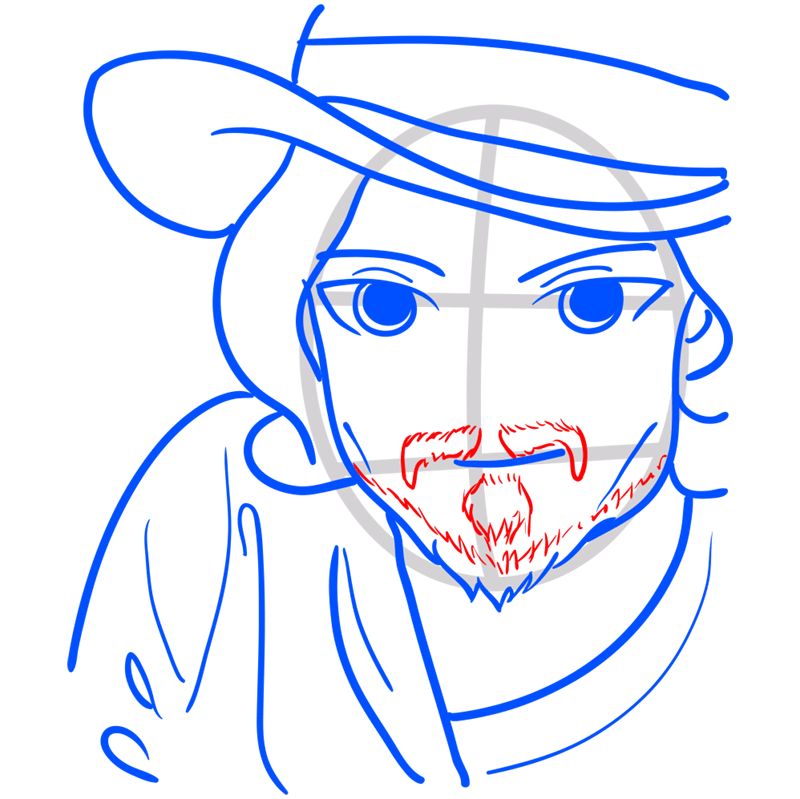 Learn easy to draw Johnny Depp step 08