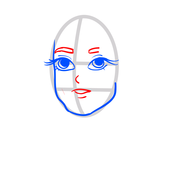 Learn easy to draw Keira Knightley step 04