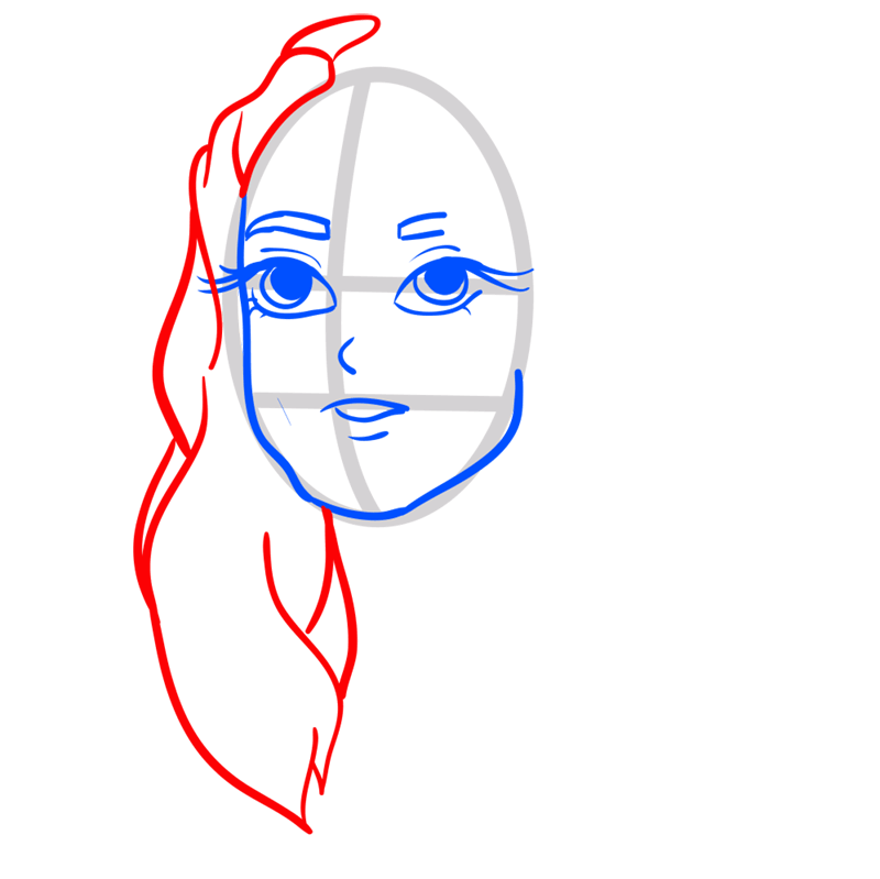 Learn easy to draw Keira Knightley step 05
