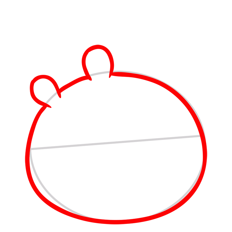 Learn easy to draw King Pig step 02