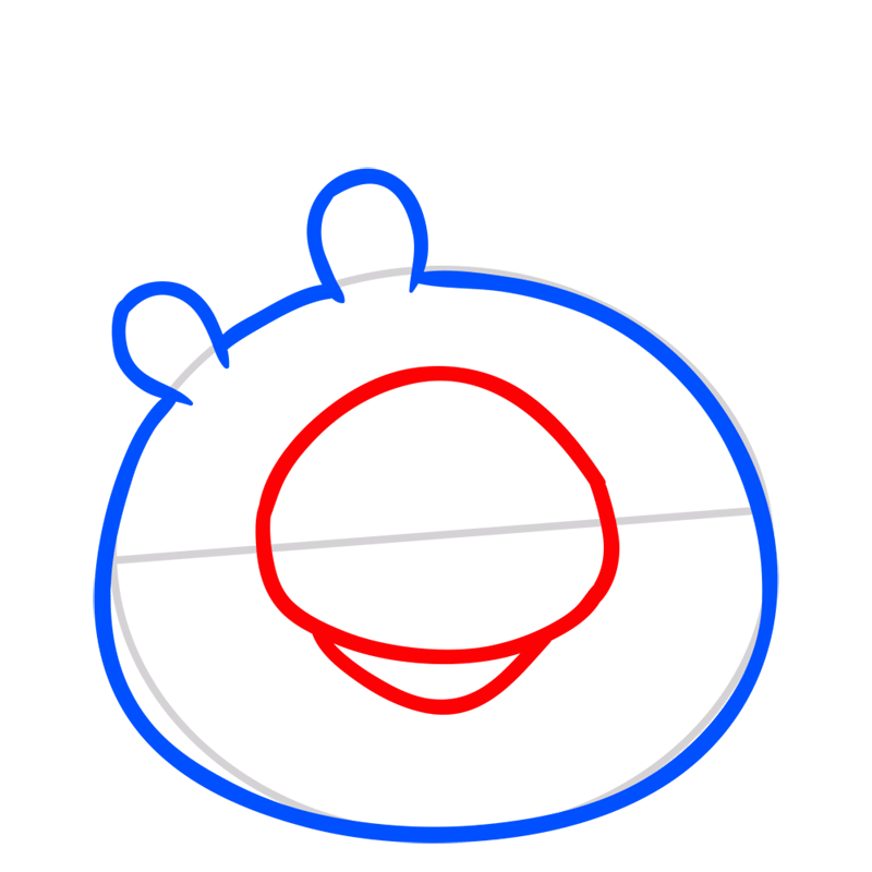Learn easy to draw King Pig step 03