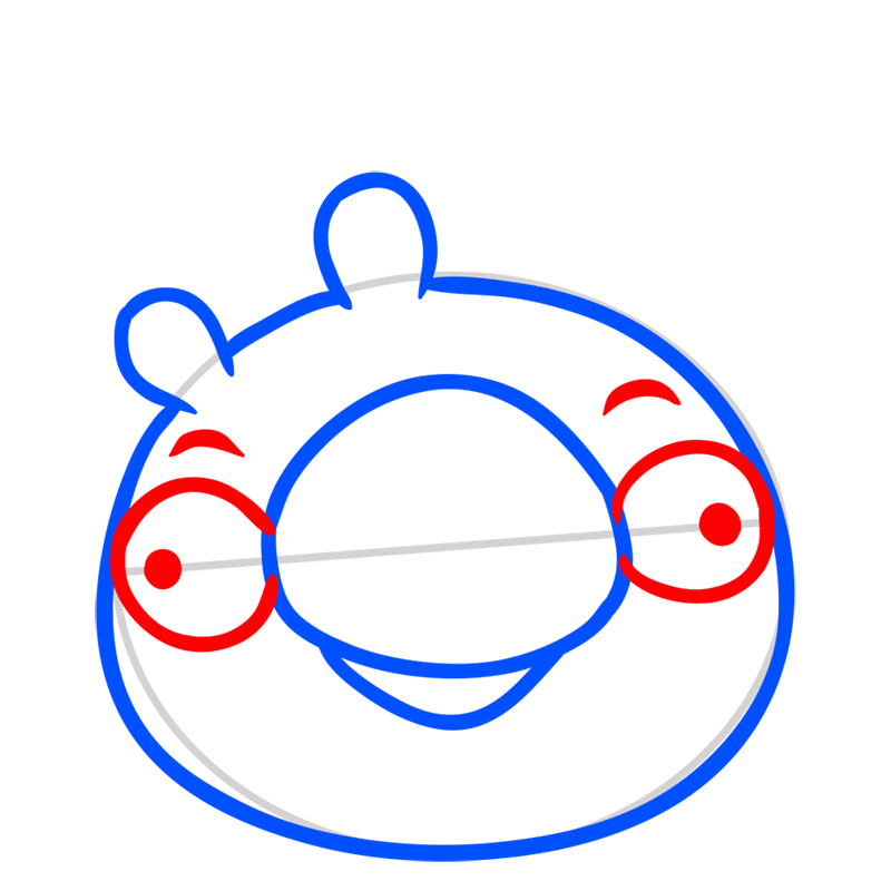 Learn easy to draw King Pig step 04