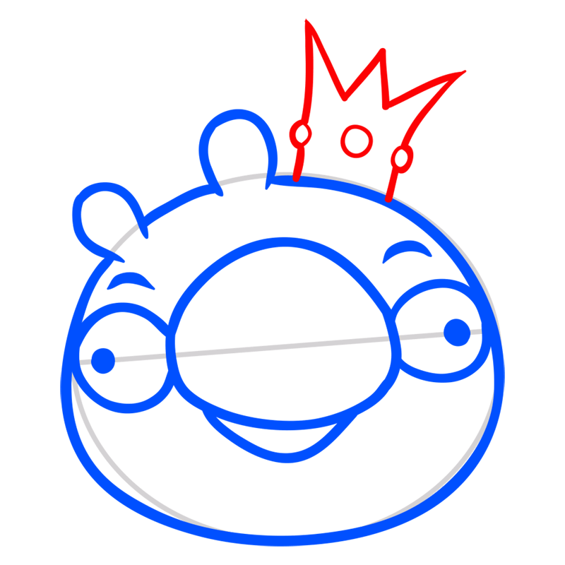 Learn easy to draw King Pig step 05