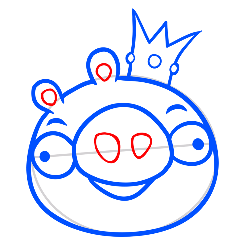 Learn easy to draw King Pig step 06