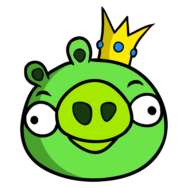Learn easy to draw King Pig step 08