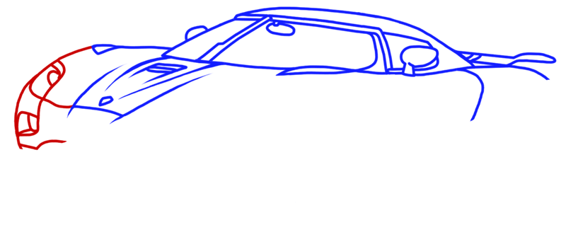 Learn easy to draw Koenigsegg Agera R step 07