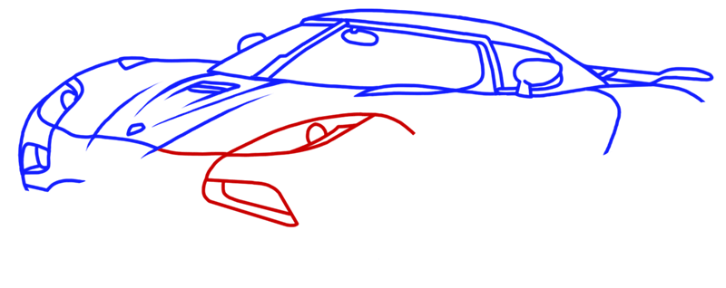 Learn easy to draw Koenigsegg Agera R step 08