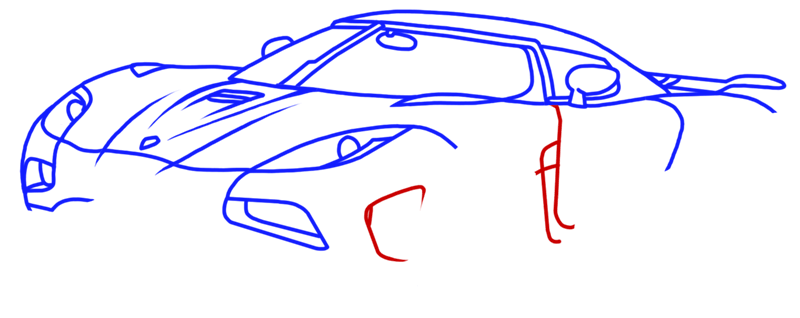 Learn easy to draw Koenigsegg Agera R step 09