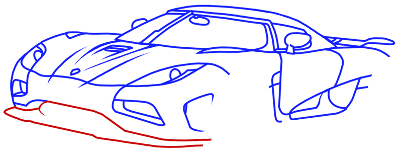 Learn easy to draw Koenigsegg Agera R step 11