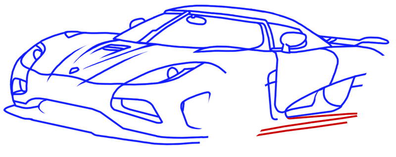 Learn easy to draw Koenigsegg Agera R step 12