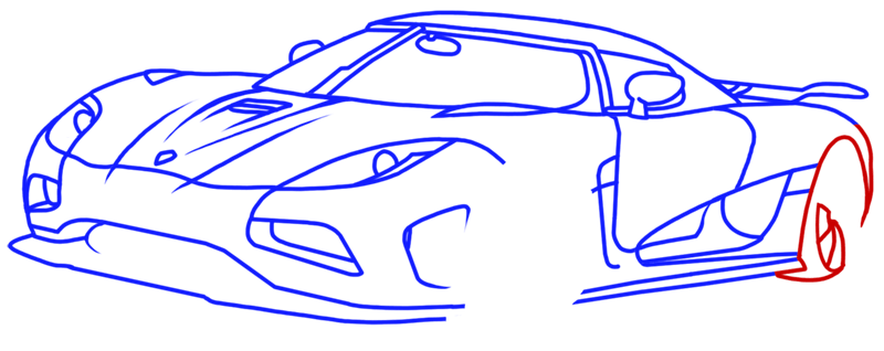 Learn easy to draw Koenigsegg Agera R step 13