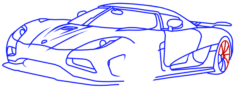 Learn easy to draw Koenigsegg Agera R step 14