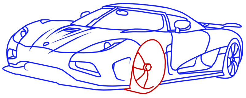 Learn easy to draw Koenigsegg Agera R step 15