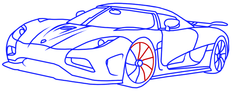 Learn easy to draw Koenigsegg Agera R step 16