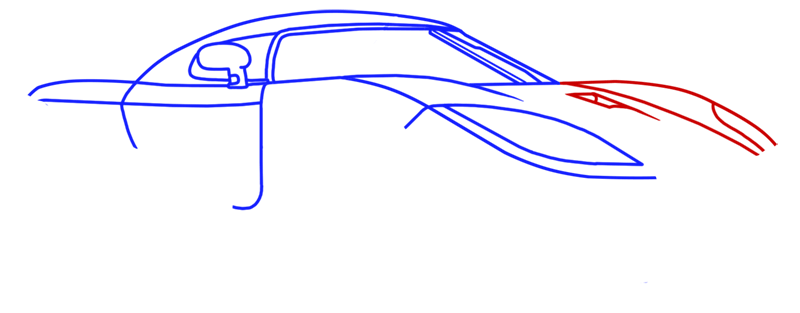 Learn easy to draw Koenigsegg CC8S step 07