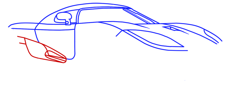Learn easy to draw Koenigsegg CC8S step 08