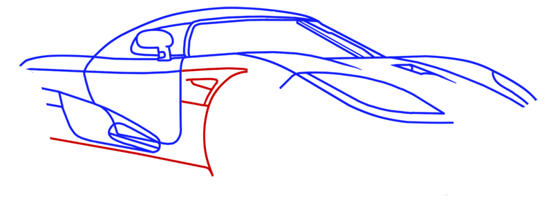 Learn easy to draw Koenigsegg CC8S step 09
