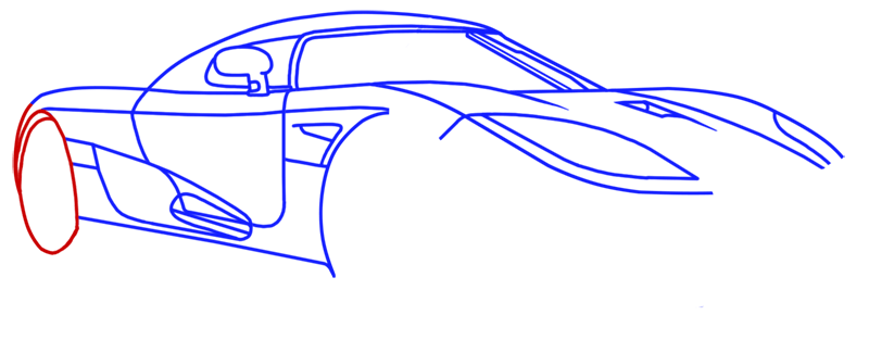 Learn easy to draw Koenigsegg CC8S step 10