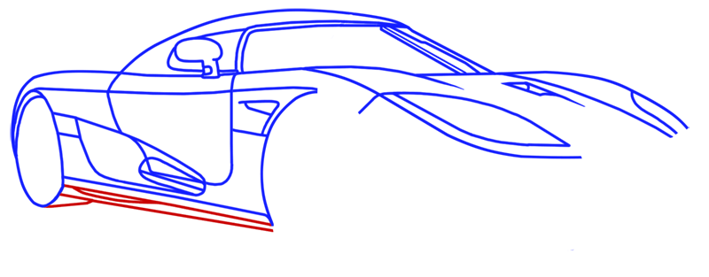 Learn easy to draw Koenigsegg CC8S step 11