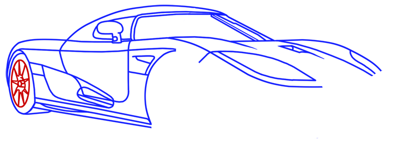 Learn easy to draw Koenigsegg CC8S step 12