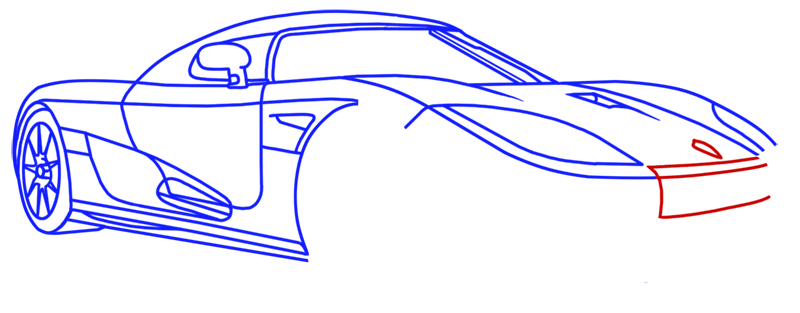 Learn easy to draw Koenigsegg CC8S step 13