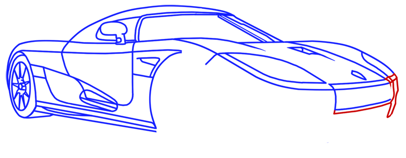 Learn easy to draw Koenigsegg CC8S step 14