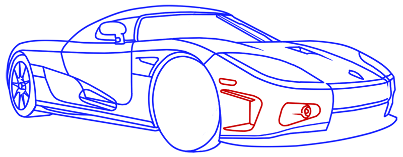 Learn easy to draw Koenigsegg CC8S step 17